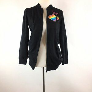 Almost Famous Heart Graphic Zippered Jacket